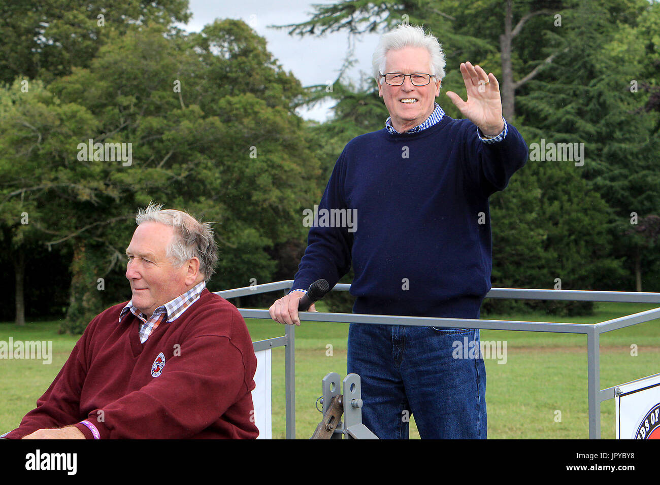Woodstock, Oxfordshire, UK. 3rd Aug, 2017. Presenter John Craven arrives in style on the first day of Countryfile Live which is on for four days at Blenheim Palace Picture: Ric Mellis 3/8/2017 Credit: Ric Mellis/Alamy Live News - Stock Image
