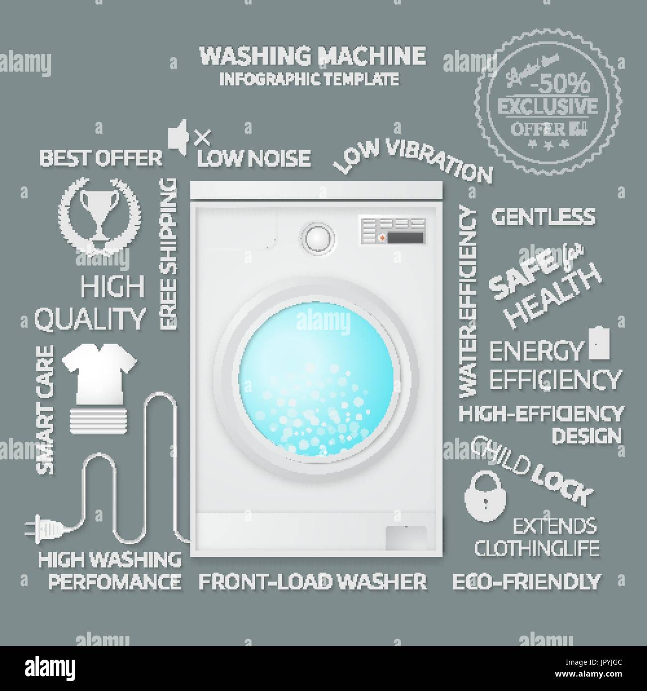 Vector Illustration Of Washer Infographic Template Cover