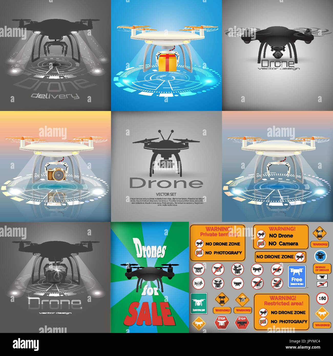 Big vector set of  drone  illustrations. Drone logo.  Drone delivery concept.  Warning sing. Flyer in retro style. Eps10 vector design - Stock Image