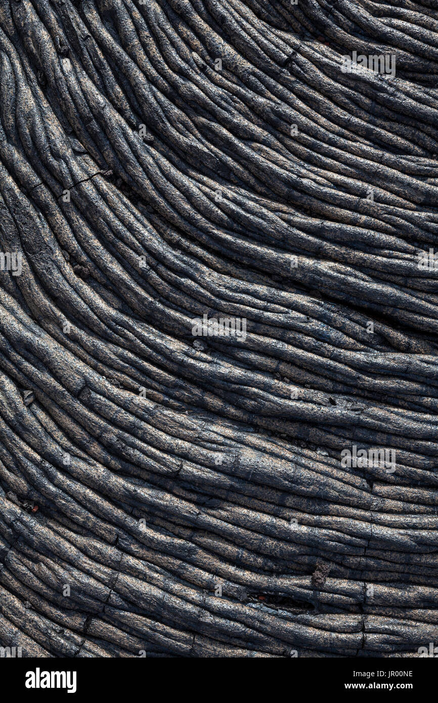 Hi00351-00...HAWAI'I - Lava patterns in the East Rift Zone of Kilauea Volcano, Hawai'i Volcanoes National Park, on the island of Hawai'i. - Stock Image
