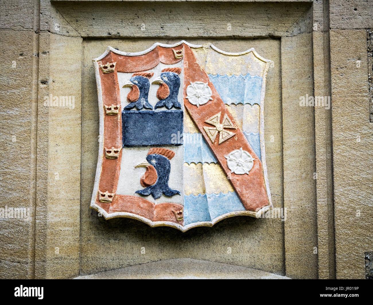 Jesus College Cambridge - Coat of Arms of Jesus College, part of the University of Cambridge, UK - Stock Image