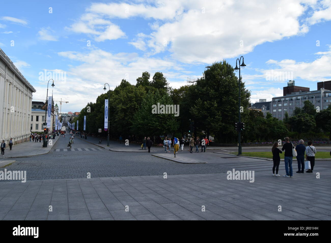Studenterlunden Park and Karl Johans gate Street in Oslo, Norway - Stock Image