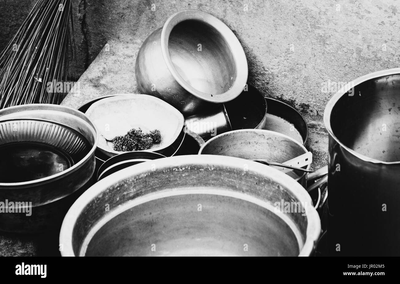 Set of unmade dishes in a kitchen. - Stock Image
