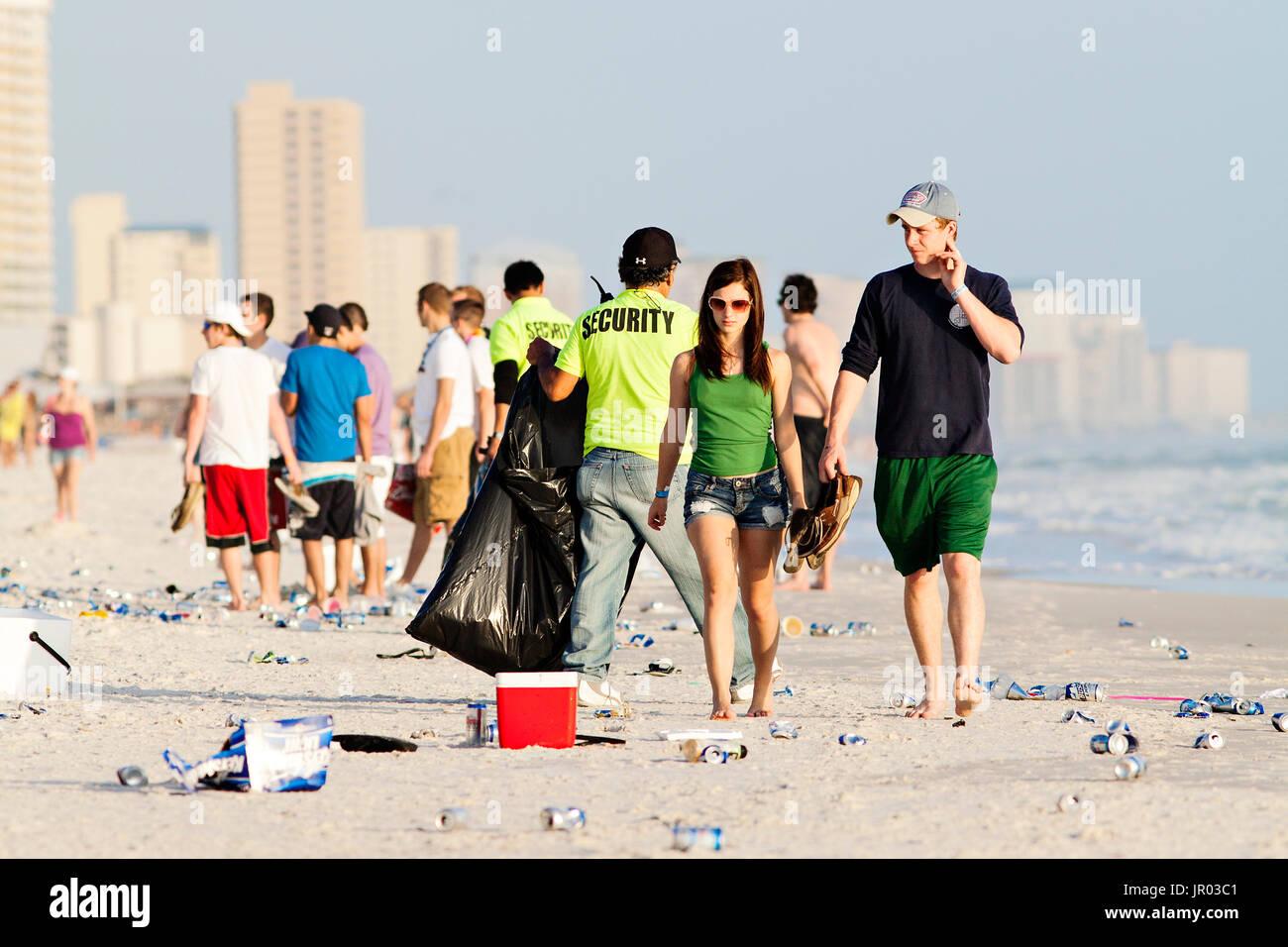 Panama City Beach, Florida. Spring break, 2011. Trash on the beach. - Stock Image