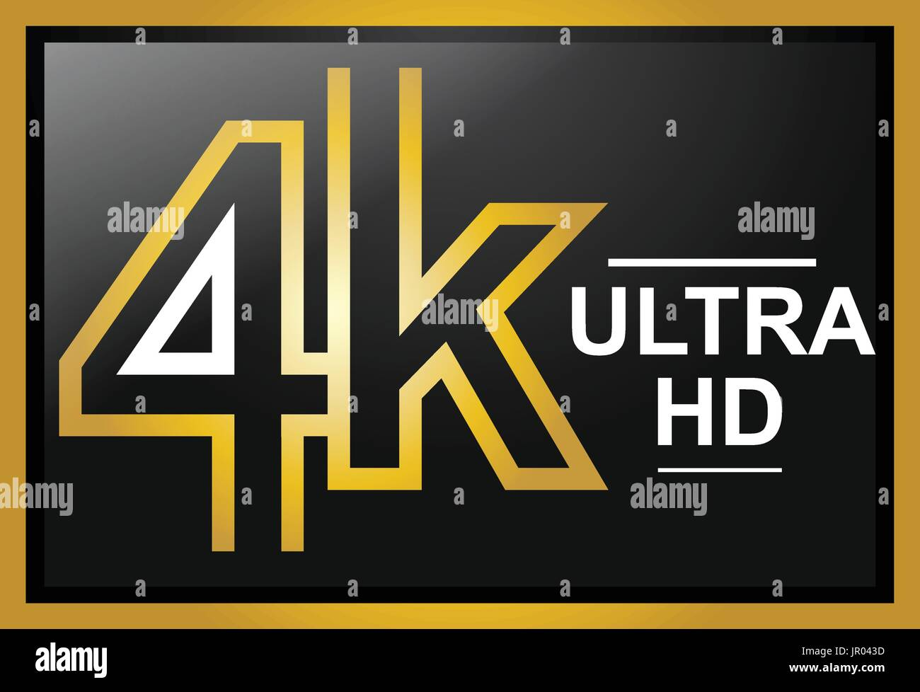 gold 4K ULTRA HD sign, icon design, isolated on white background - Stock Image