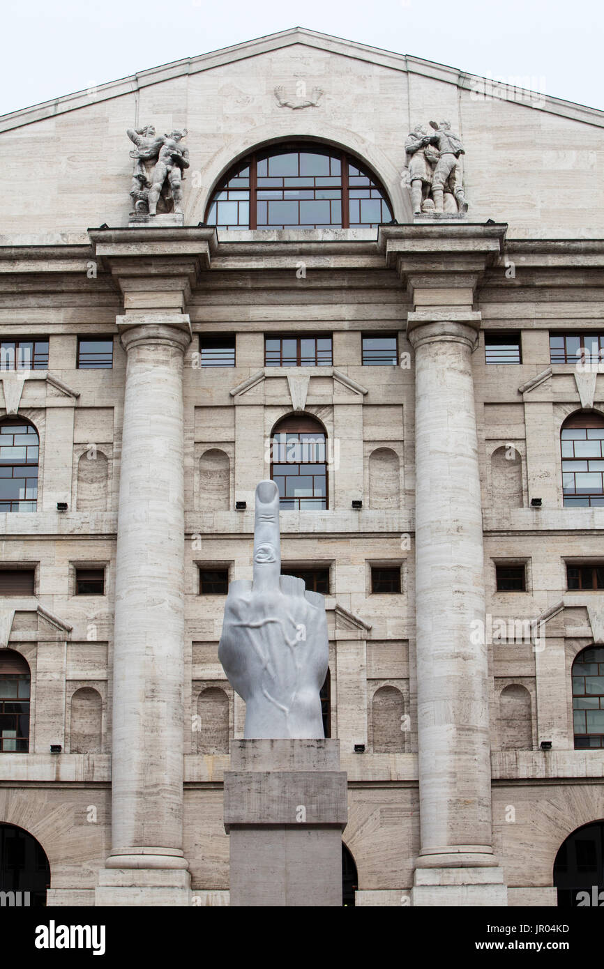 f661ef75a2 Sculpture by Maurizio Cattelan, Piazza Affari, Affari square, Milan ...