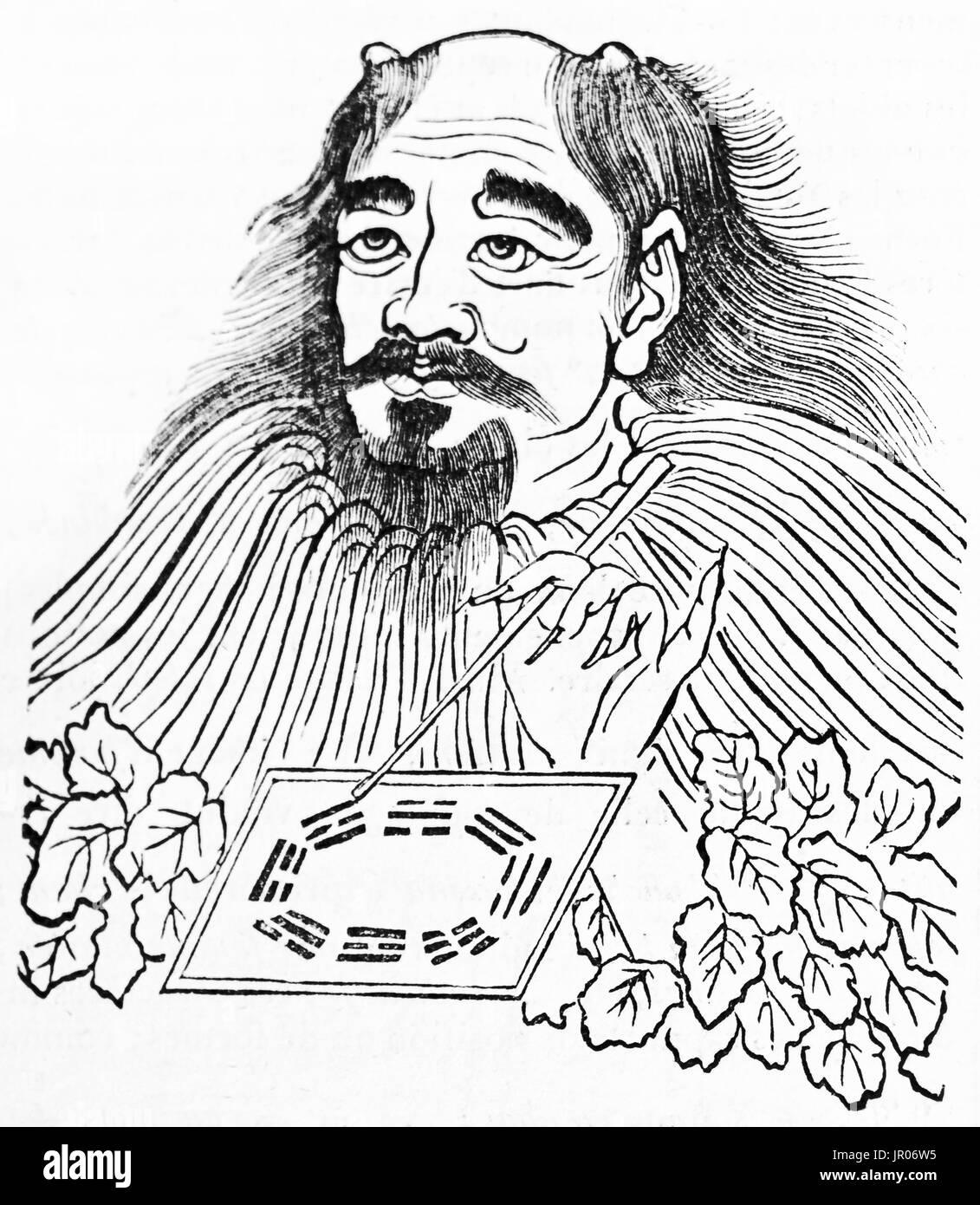 Old engraved rapresentation of Fuxi, Chinese mythological hero. By unidentified author, published on Magasin Pittoresque, Paris, 1833. - Stock Image