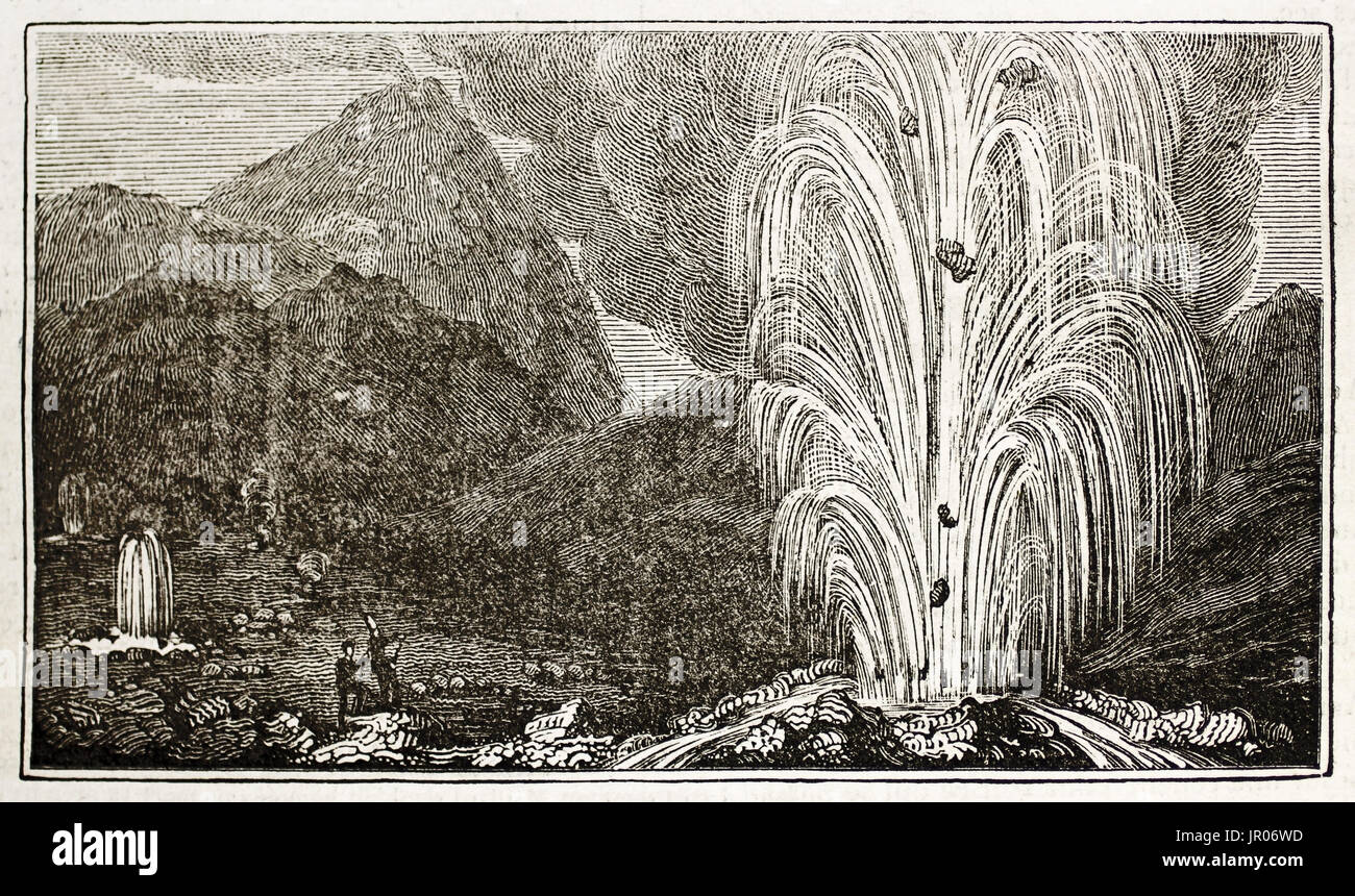 Old illustration of a Geyser in Iceland. By unidentified author, published on Magasin Pittoresque, Paris, 1833. - Stock Image