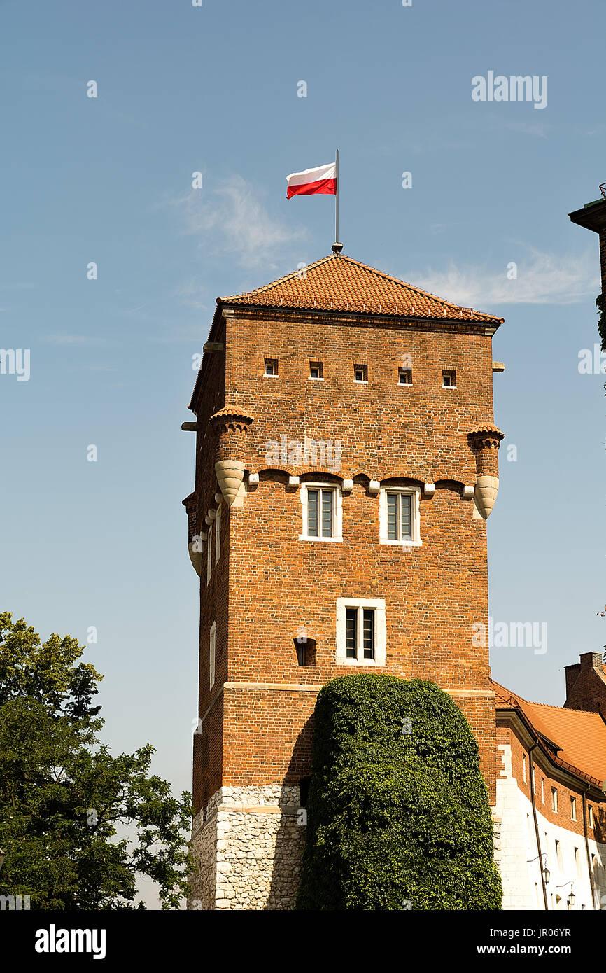 Tower of Wawel Castle in Krakow (Poland) - Stock Image