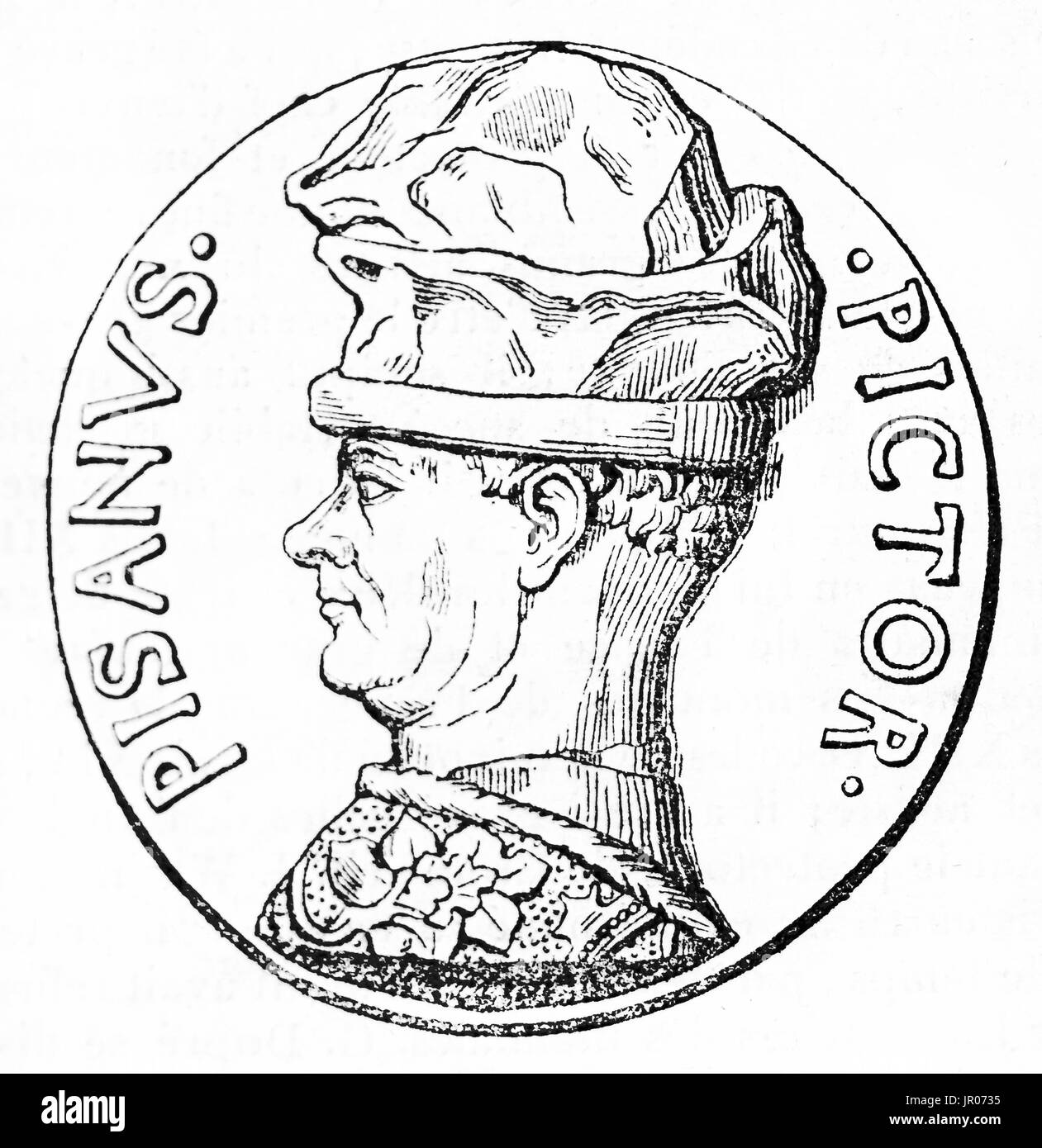 Old reproduction of a medallion depicting Pisanello (c. 1395 – c. 1455) early Renaissance Italian painter and medalist. After medallion created by Mar - Stock Image