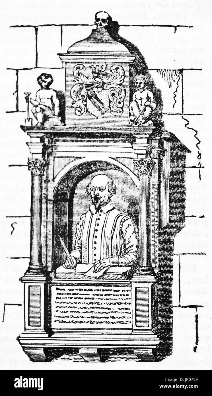 Old illustration of William Shakespeare funerary monument, Holy Trinity church, Stratford-upon-Avon, England. By unidentified author, publ. on Magasin - Stock Image