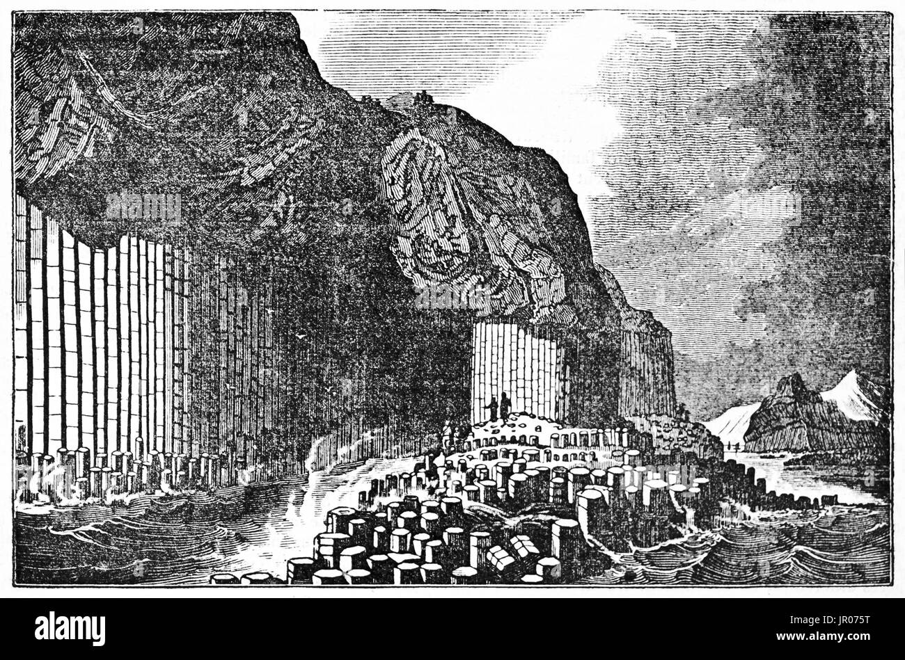 Old view of  Fingal's Cave and  basalt formations in Staffa island, Inner Hebrides, Scotland. By unidentified author, published on Magasin Pittoresque - Stock Image