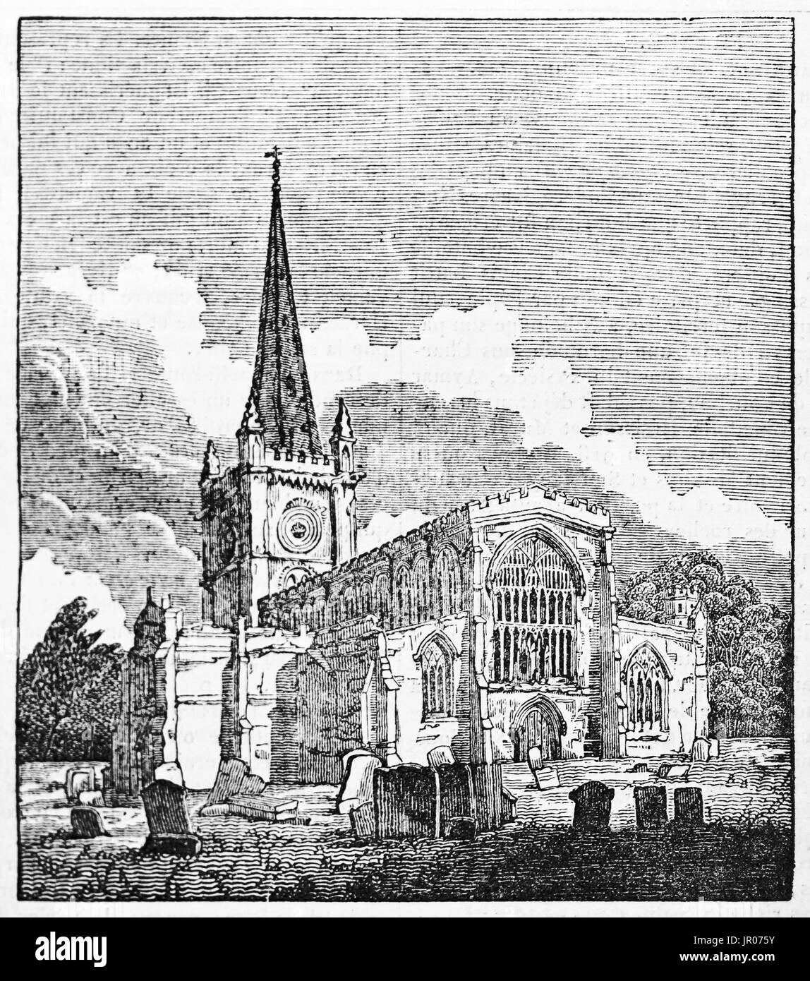 Old view of the Holy Trinity church, Stratford-upon-Avon, England. By unidentified author, published on Magasin Pittoresque, Paris, 1833. - Stock Image