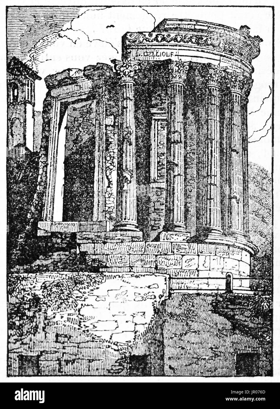 Old illustration of Temple of Sibyl, Tivoli, Italy. By unidentified author, published on Magasin Pittoresque, 1833. - Stock Image
