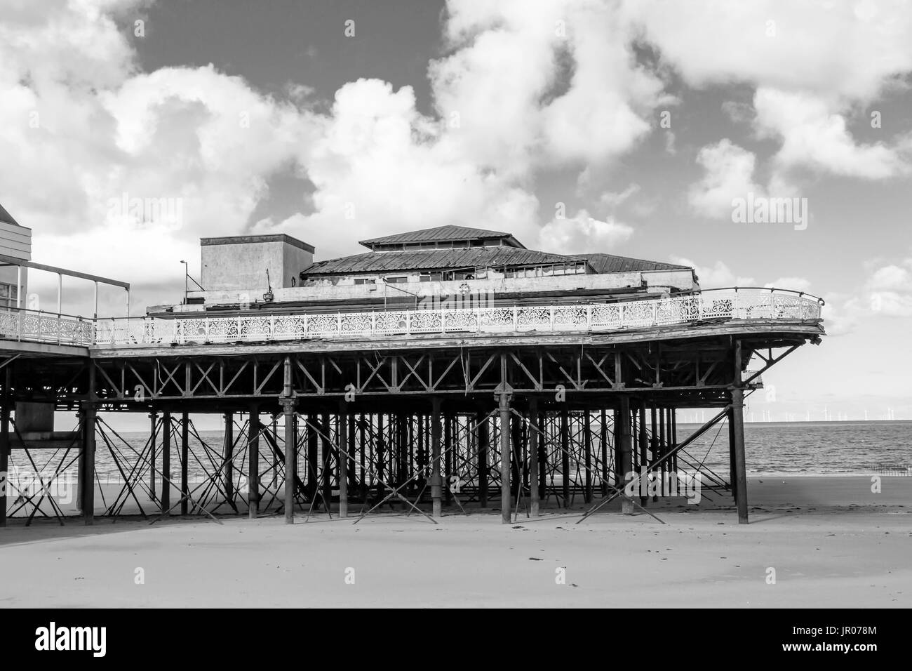 A view of the end of Victorian Pier in Colwyn Bay, North Wales.  The image was taken on a bright sunny day and converted to monochrome - Stock Image