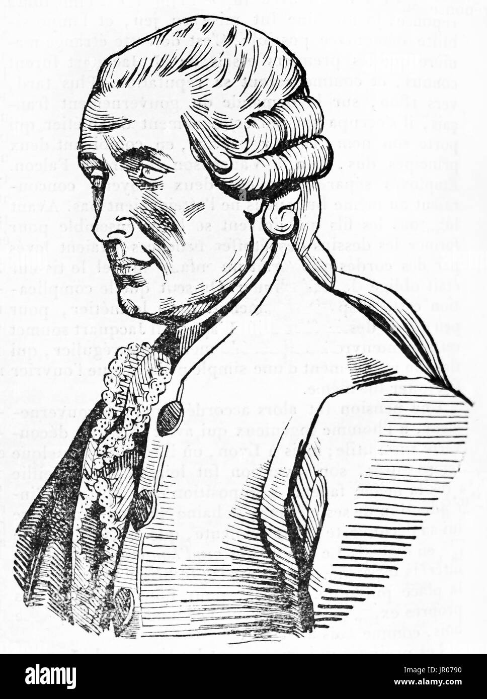 Old engraved portrait of Jacques de Vaucanson (1702 – 1789), French inventor. By unidentified author, published - Stock Image