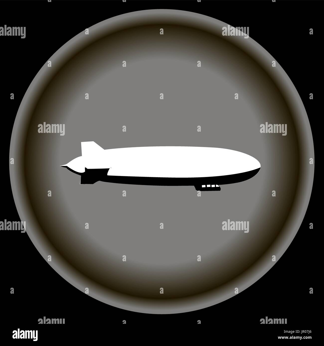 Icon white airship on grey plate. - Stock Vector