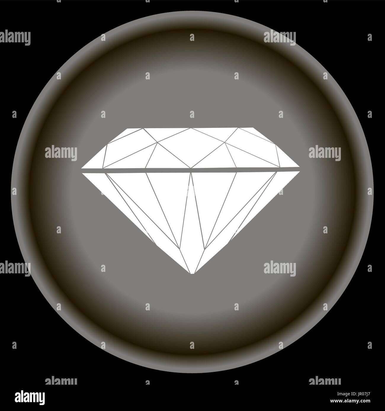 Icon Flat white Diamond on grey plate. - Stock Vector