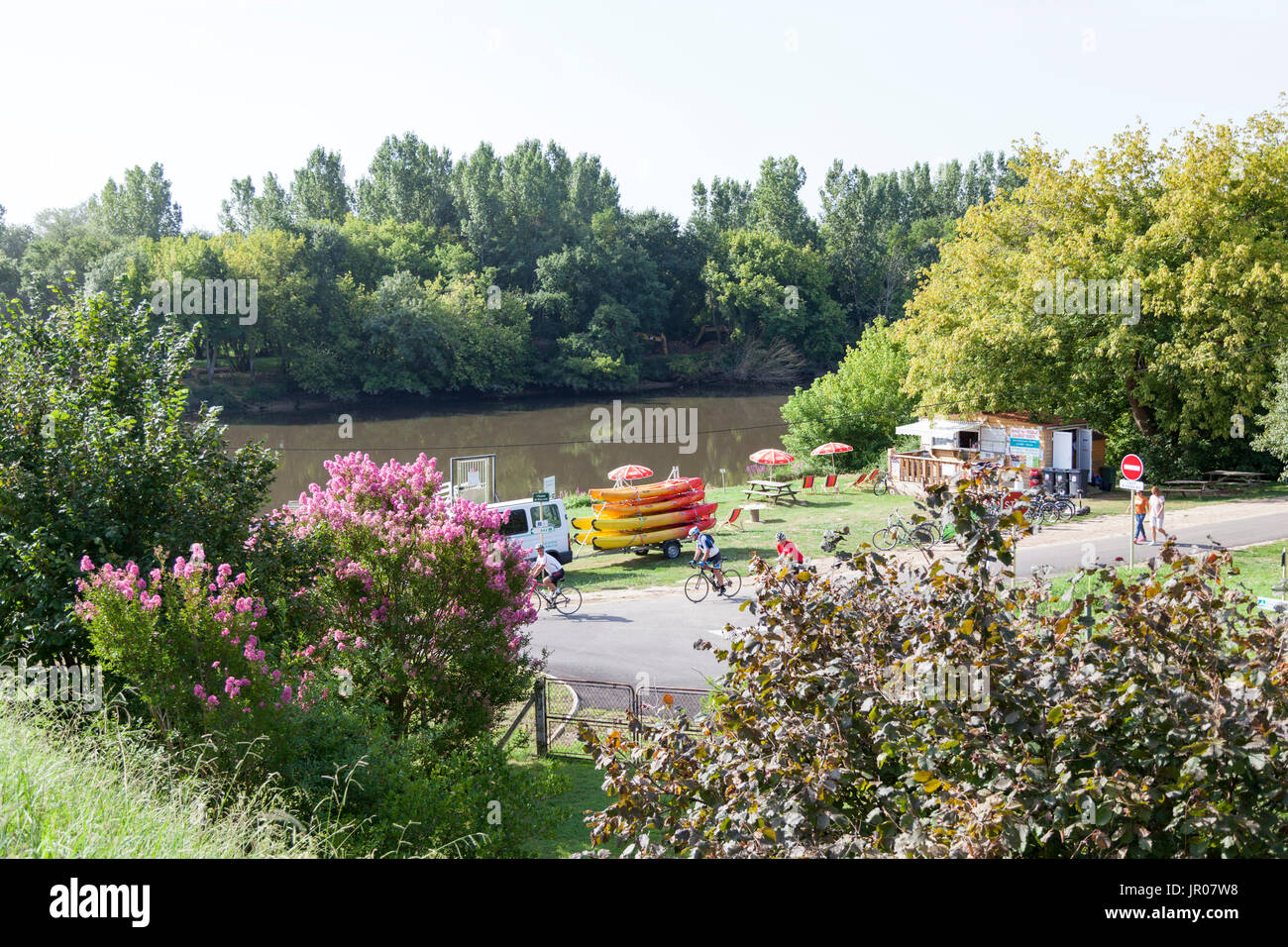 The mini nautical sports and recreation park on the river Adour, at Josse (France). It offers the opportunity to practise canoeing and boating. - Stock Image
