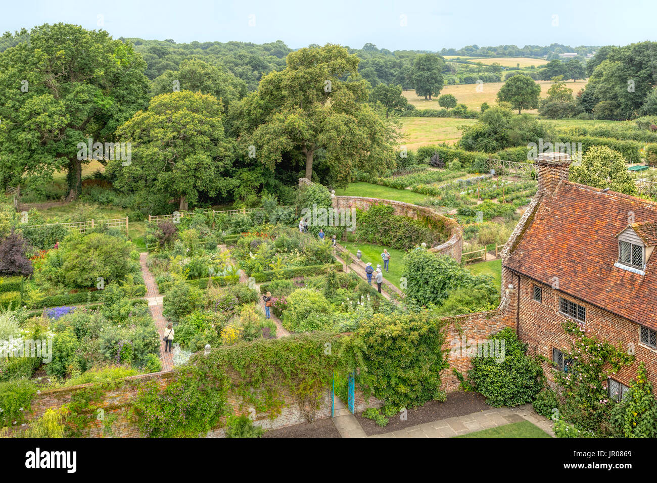 View of Sissinghurst Castle Garden,designed as a series of 'rooms', each with a different character of color and/or theme, Kent, England. - Stock Image