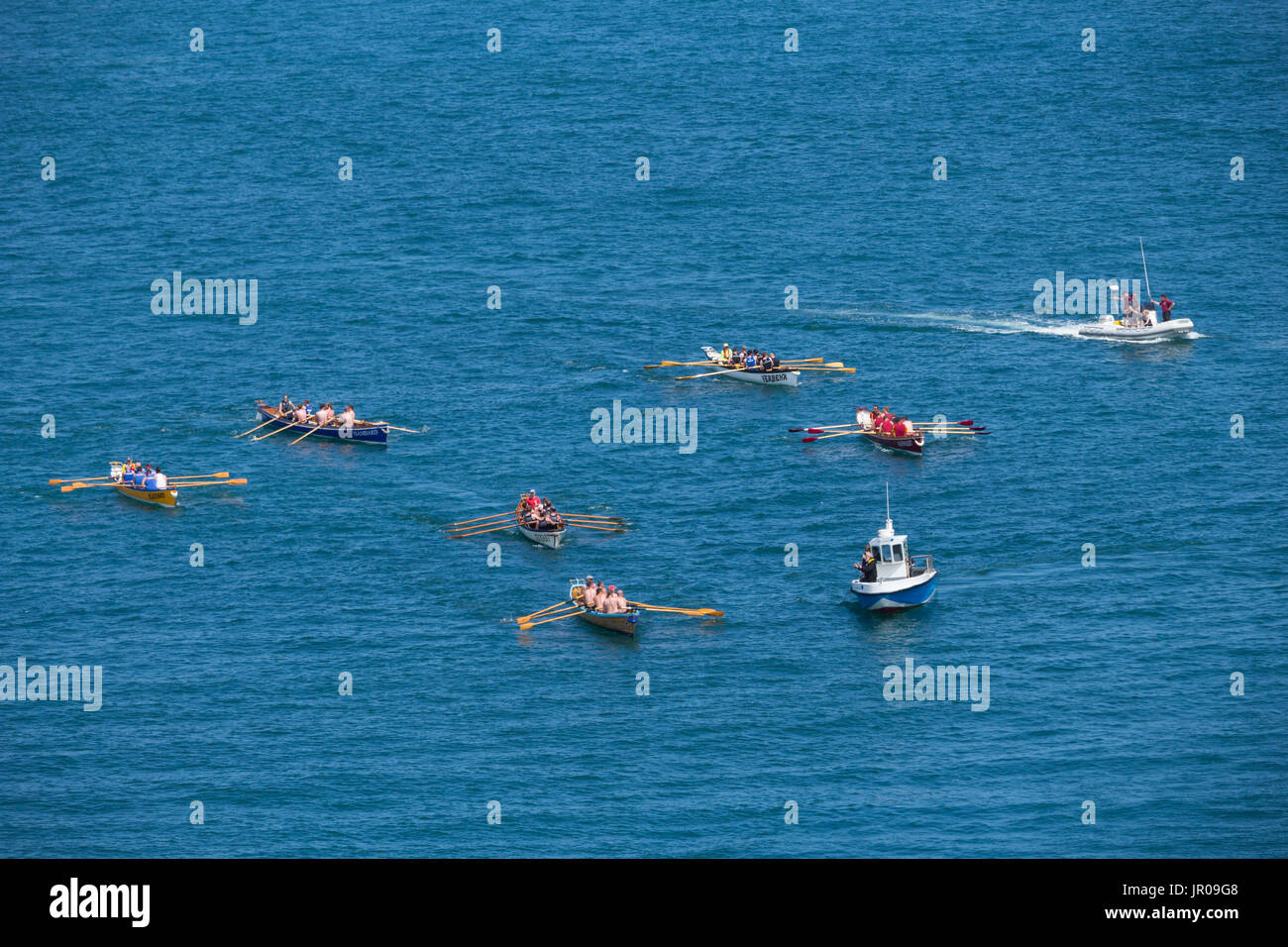 Ilfracombe Regatta 2017 boats departing from harbour - Stock Image