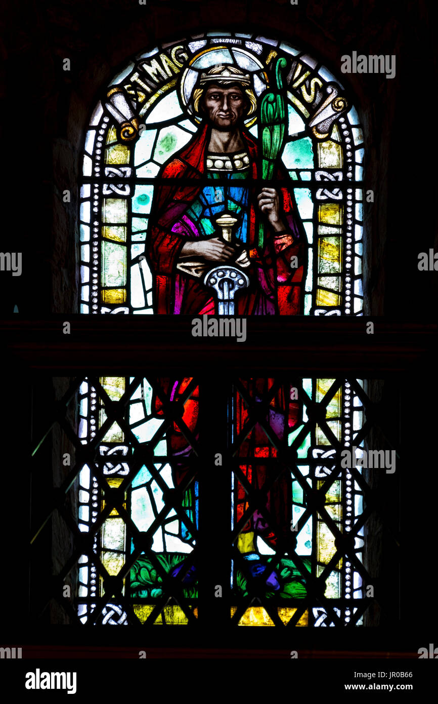 St Magnus stained glass window - Stock Image