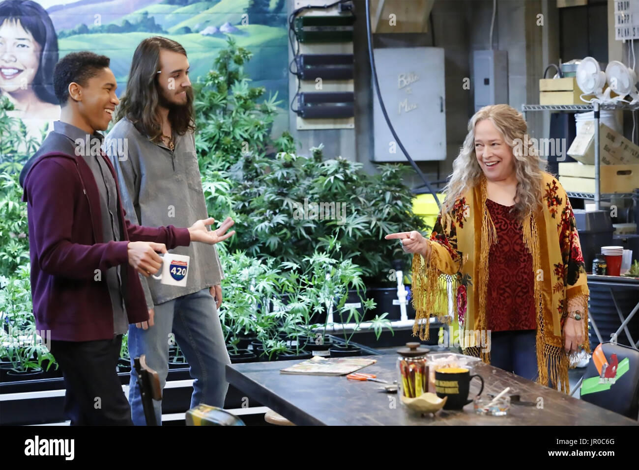 DISJOINTED 2017> Netflix TV series with Dougie Baldwin centre and Kathy Bates - Stock Image