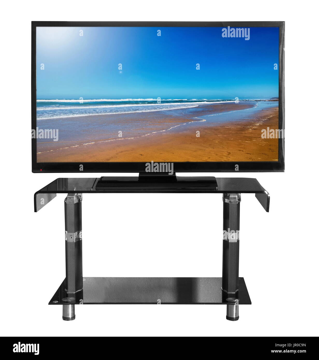 Tv on the stand with picture - Stock Image