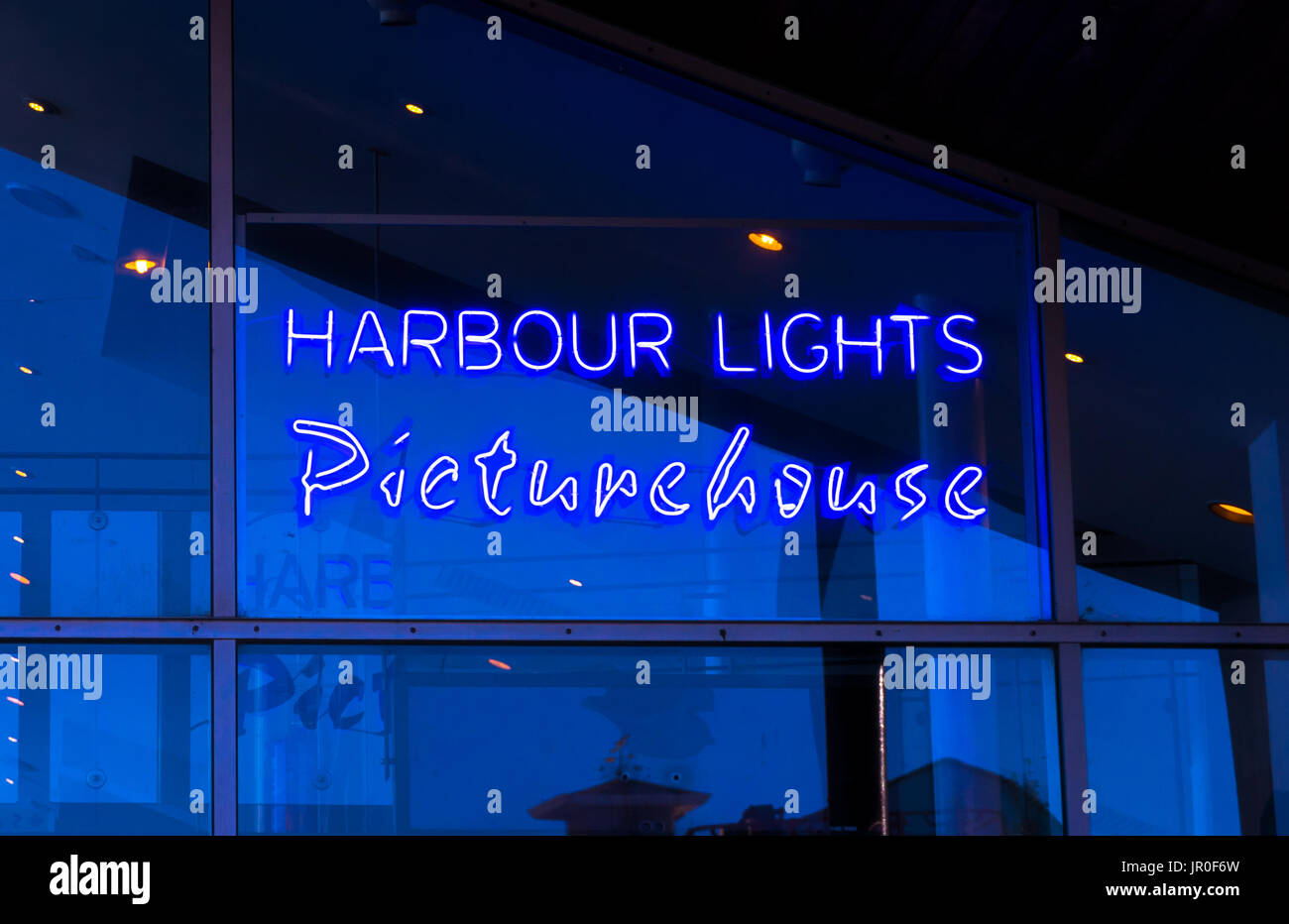 Illuminated sign for the Harbour Lights Picturehouse cinema in Southampton, UK - Stock Image