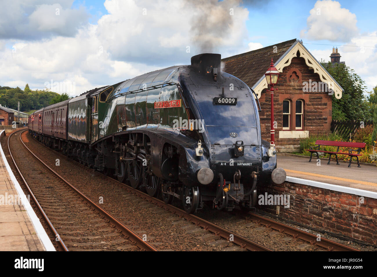 Preserved steam locomotive, Union of South Africa, heads the Cumbrian Mountain Express through Lazonby station, on the Settle to Carlisle railway. - Stock Image