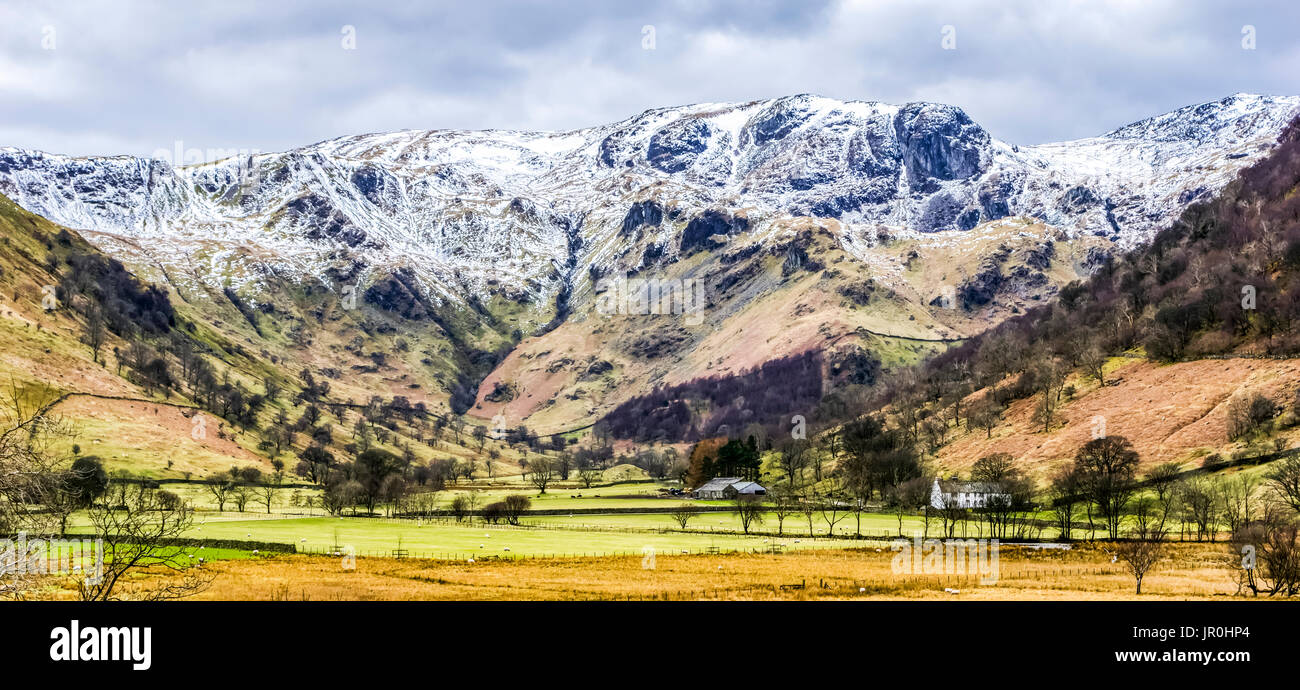 High Hartsop Dodd In The English Lake District With A Covering Of Snow; Cumbria, England - Stock Image