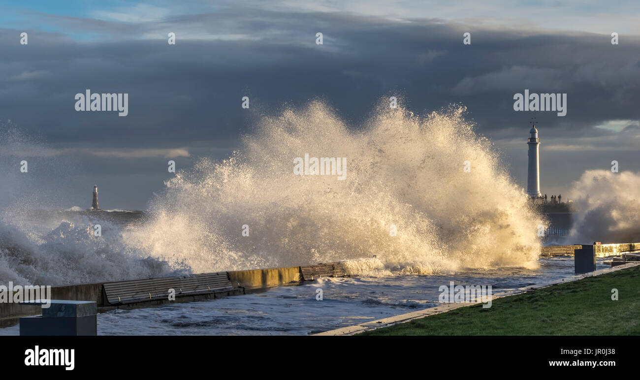 Raging Storm On The North East Coast Of England, Waves Catching The Sunlight; Sunderland, Tyne And Wear, England Stock Photo