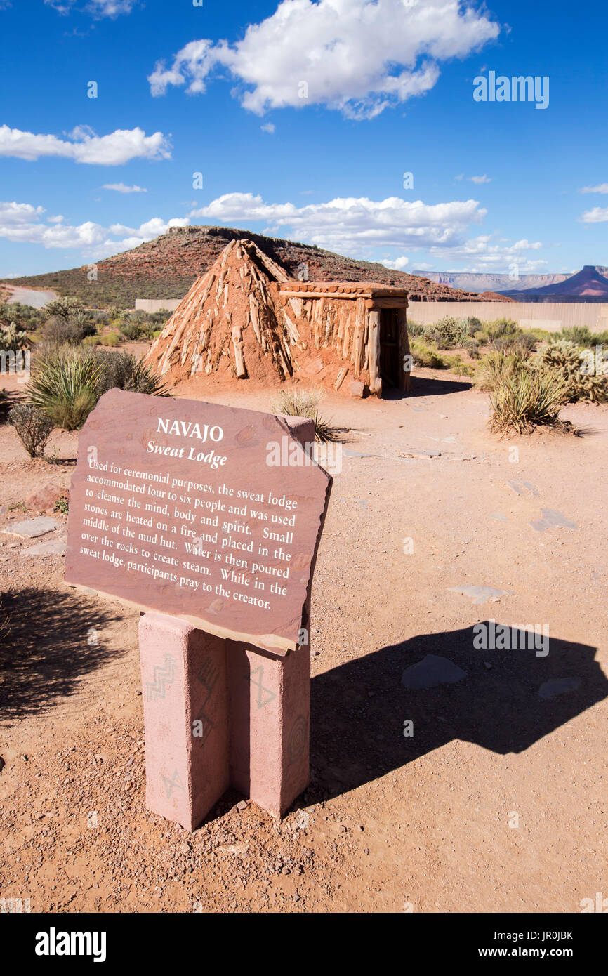 One Of The Traditionally Built Native American Houses That Are Part Of The Village Display At Eagle Point At The West Grand Canyon - Stock Image