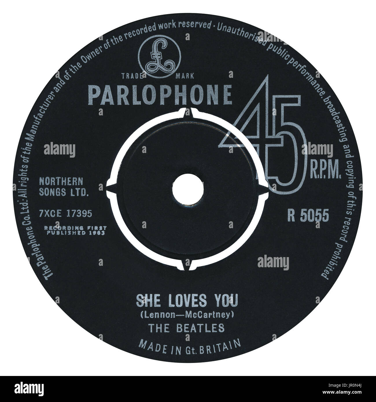 45 RPM 7' UK record label of She Loves You by The Beatles on the Parlophone label from 1963. - Stock Image