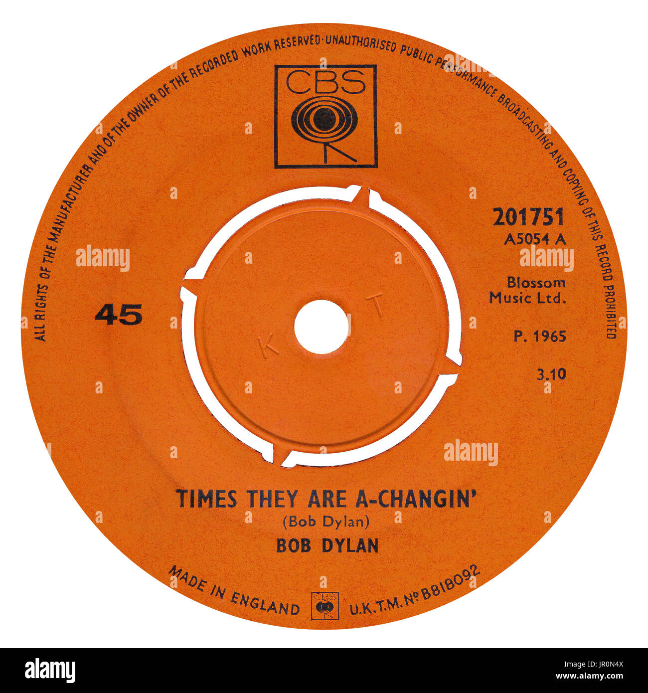 """45 RPM 7"""" UK record label of Times They Are A-Changin' by Bob Dylan on the CBS label from 1965. From the 1964 album Stock Photo"""