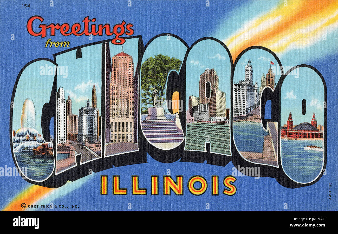 Vintage Us Greetings From Chicago Illinois Postcard Published By