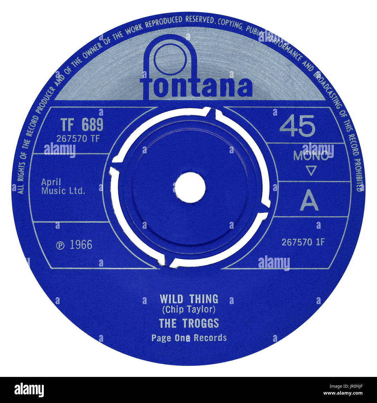 """45 RPM 7"""" UK record label of Wild Thing by The Troggs on the Fontana label from 1966. Stock Photo"""