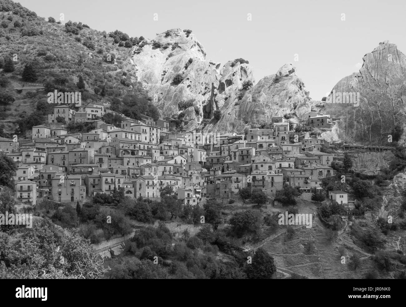 Castelmezzano (Italy) - A little altitude village, dug into the rock in the natural park of the Dolomiti Lucane, Basilicata, famous for 'Angel Flight' - Stock Image