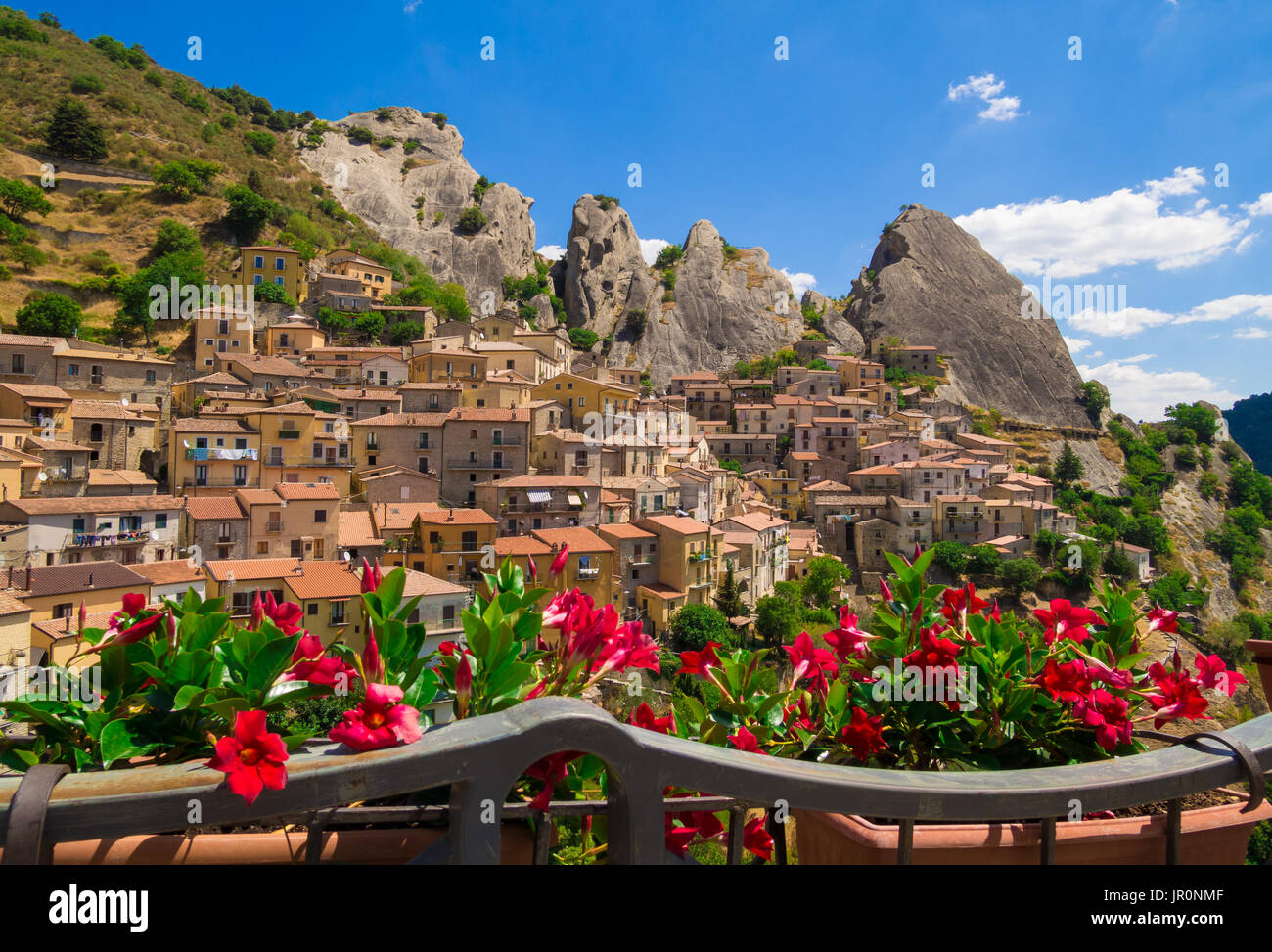 Castelmezzano (Italy) - A little altitude village, dug into the rock in the natural park of the Dolomiti Lucane, Stock Photo