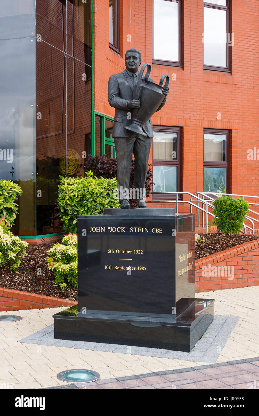 A statue of Jock Stein outside the Main Stand at Celtic Park in Scotland celebrating his contribution to Glasgow Celtic Football Club. - Stock Image