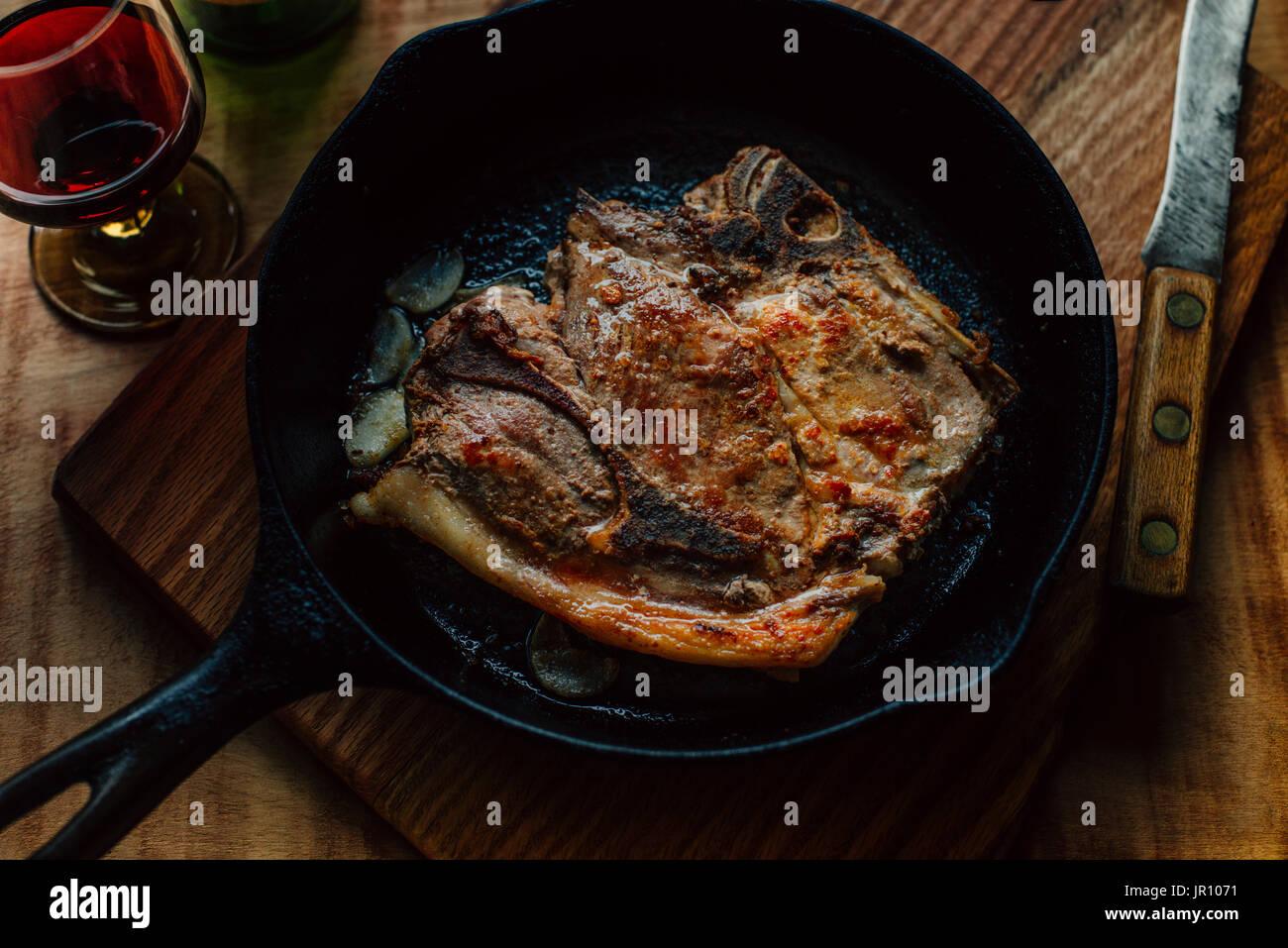 pork chop, country living, farm food - Stock Image