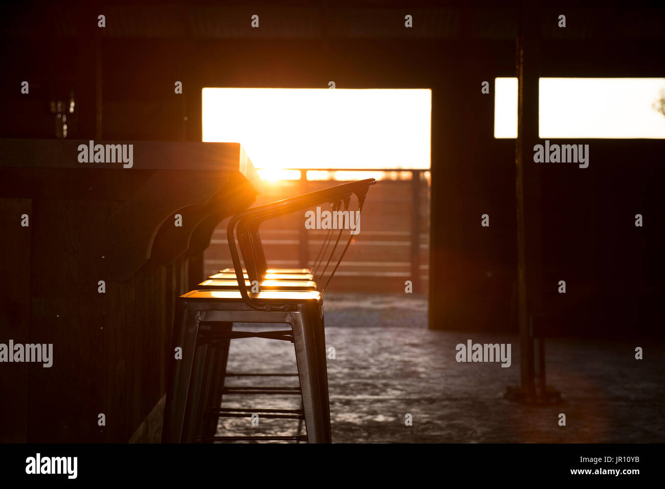 Bar Inside A Barn Rustic Sun Set