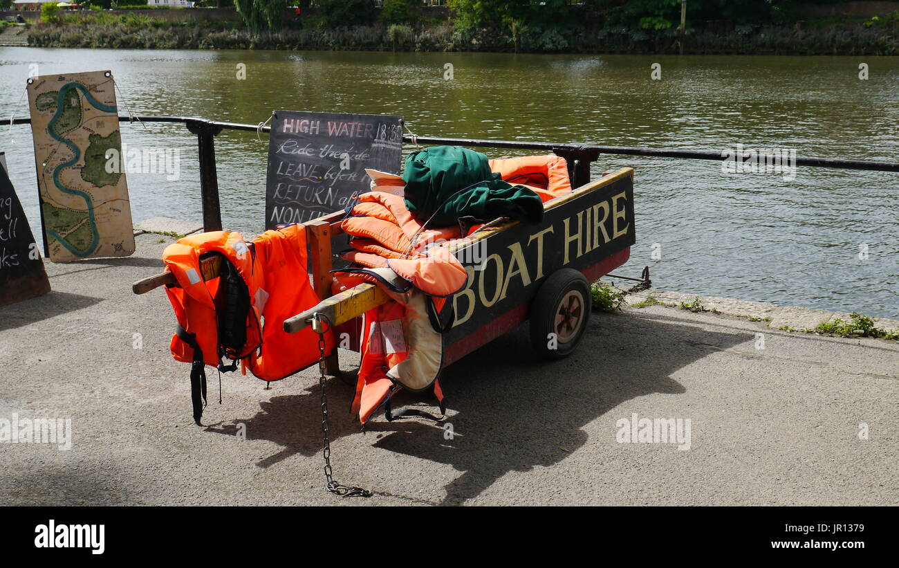 Boat hire equipment  by the river thames - Stock Image