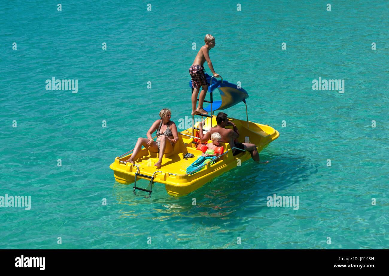 Leisure craft anchored in Cala Mondrago, Mallorca, Spain - Stock Image