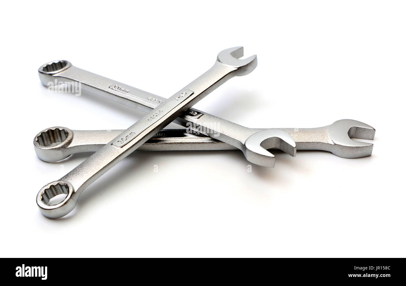 A Set of Metric Wrenches on a White Background - Stock Image