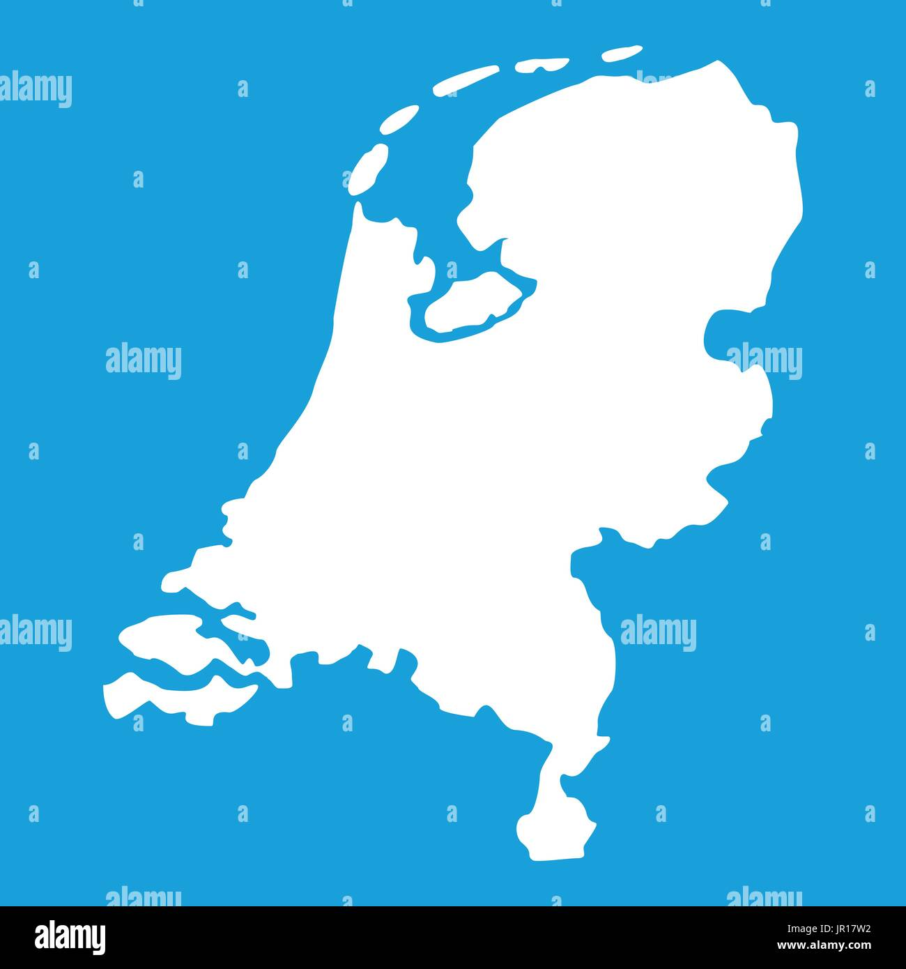 Holland map icon white - Stock Vector