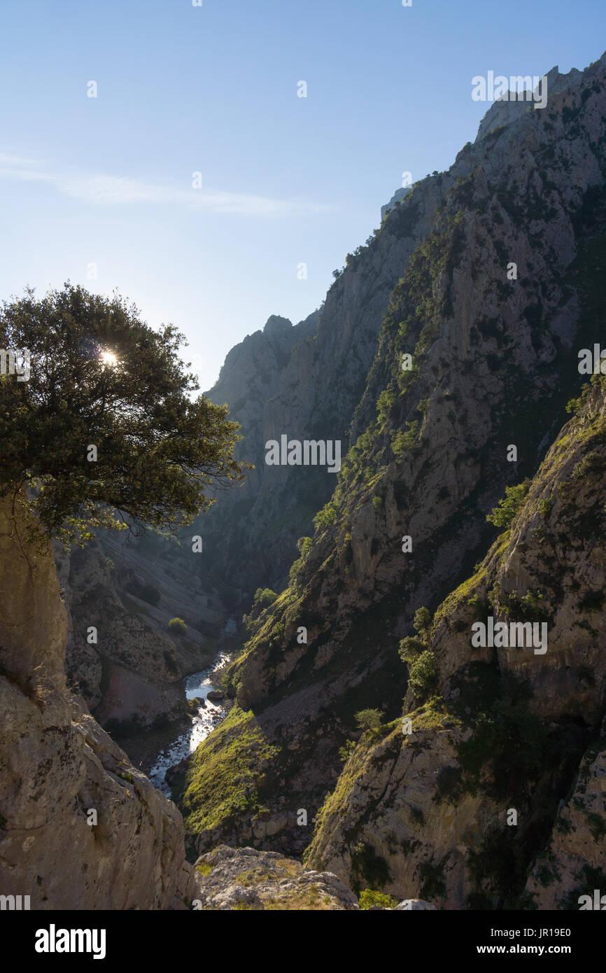 The cares gorge, Garganta del Cares, is famous for its walking route along side a hydro canal scheme, Ruta del Cares, Picos de Europa National Park - Stock Image
