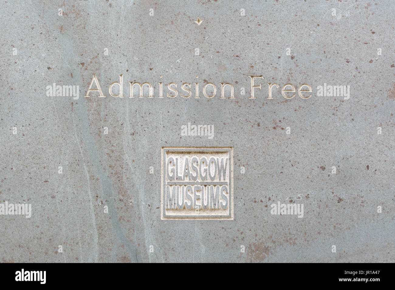 Admission Free Glasgow Museums sign - Stock Image