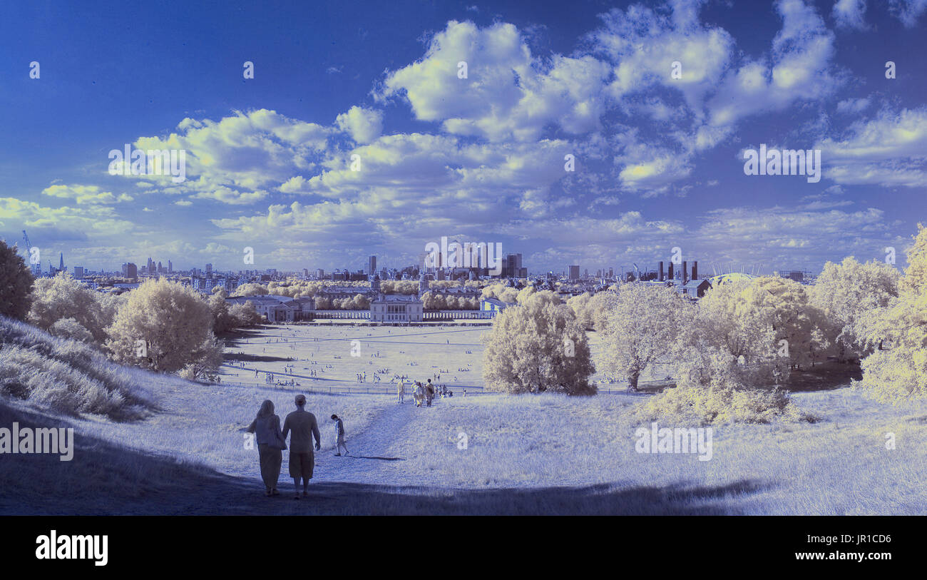 Colour infrared panoramic image of London - Stock Image