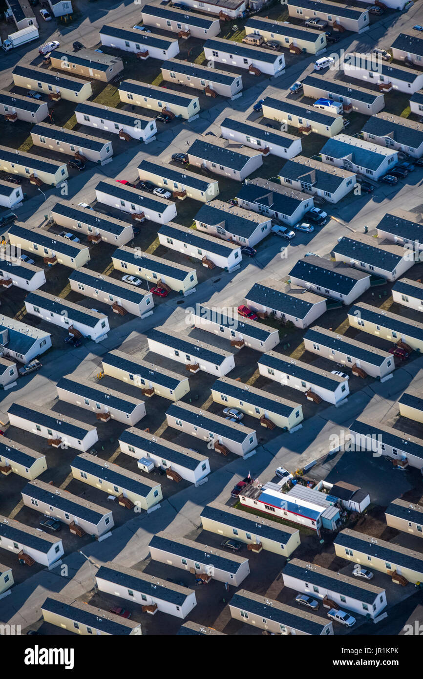 Aerial View Of A Trailer Park Subdivision In Eagle River Valley, Southcentral Alaska, USA - Stock Image
